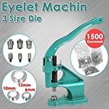 go2buy Heavy Duty 3 Die (#0 #2 #4) Grommet Machine Hand Eyelet Press Hole Punch Tool with 1500 Silver Grommets Eyelet