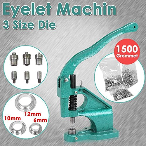 go2buy Heavy Duty 3 Die (#0#2#4) Grommet Machine Hand Eyelet Press Hole Punch Tool with 1500 Silver Grommets ()