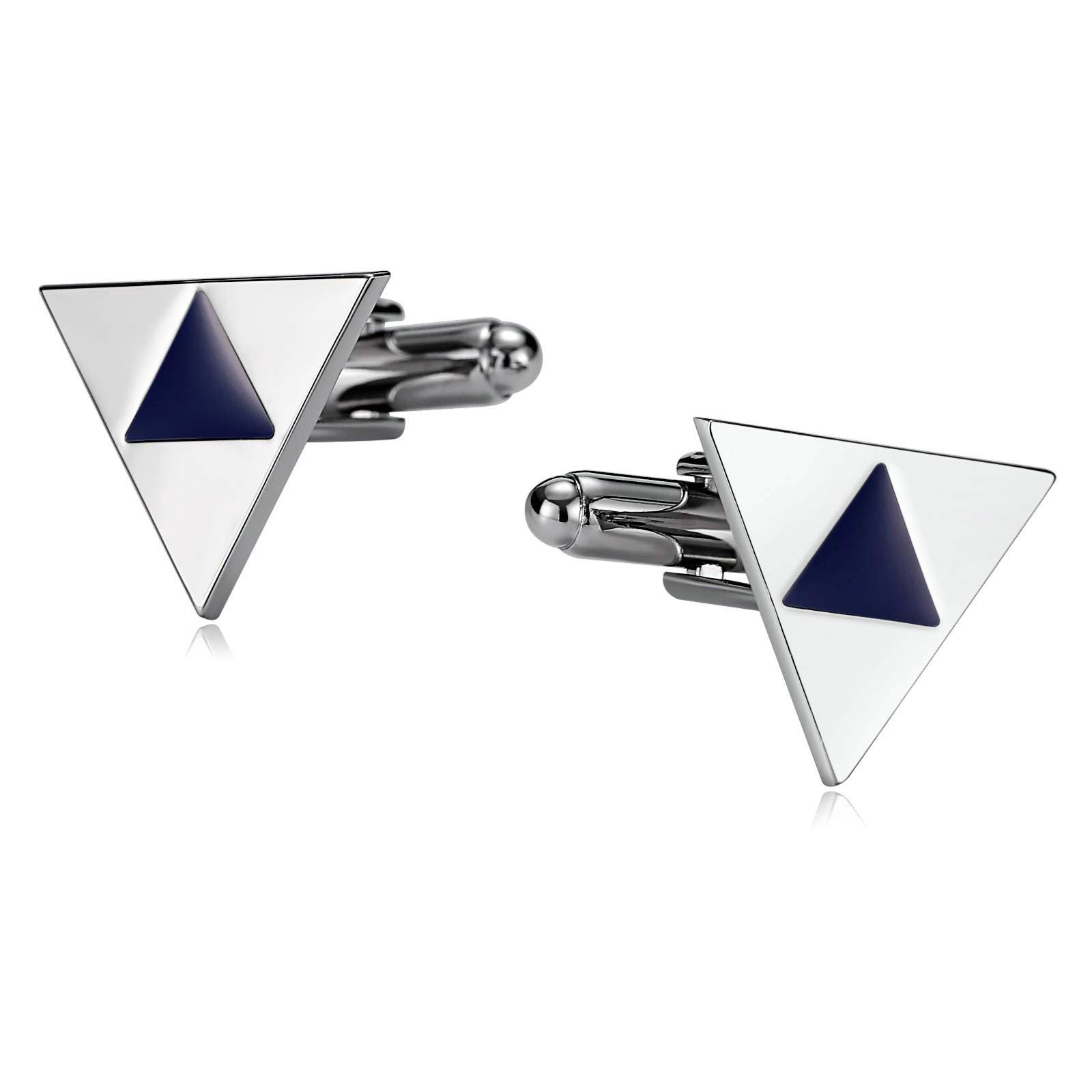 Gnzoe Cufflink Wedding-Men's Stainless Steel Triangle Enamel Cuff Links Silver Blue