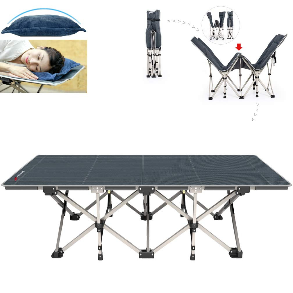 FLAMROSE Patented Camping Cots Sturdy Folding Outdoor Cot - 26 Powered Steels 10 Support Point - Weight Capacity 400lbs - Includes Free Pillow, Storage Bag