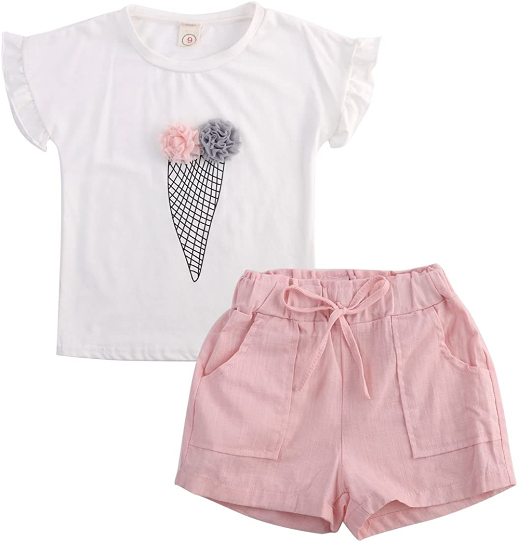 Girls Ruffle Flower T-Shirt and Pink Pocket Shorts Clothing Set Outfit Clothes