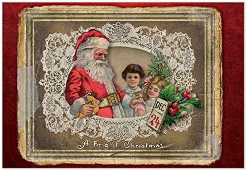 12 'Lacy Holidays Santa' Boxed Christmas Note Cards w/Envelopes 4.63 x 6.75 inch, Season's Greetings Cards for Xmas, Holidays, New Year, Stationery with Retro Santa Drawing and Lace Border B1760FXSG (Greeting Words For Christmas & New Year)