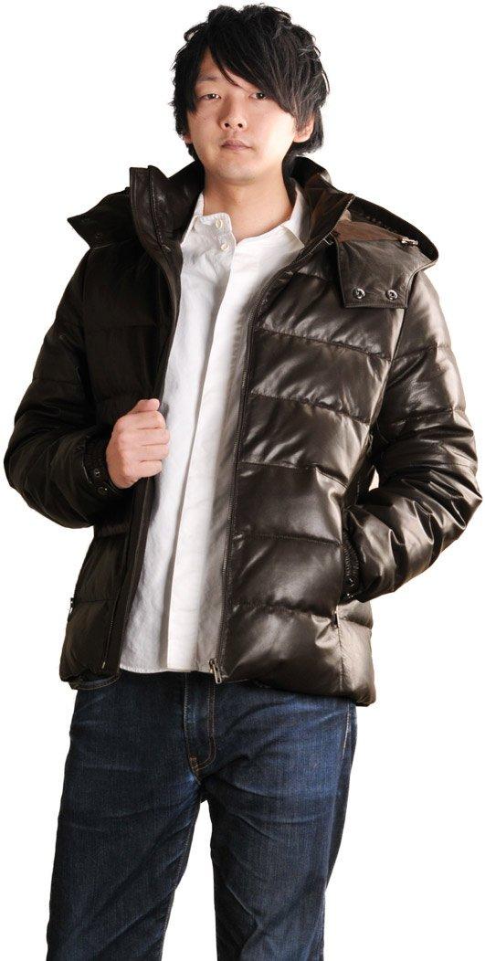 ラムレザー 革 ダウンジャケット フード付き ダウン 厚手 メンズ ジャケット パーカー ブルゾン B00CJSWL2G LL ダークブラウン ダークブラウン LL