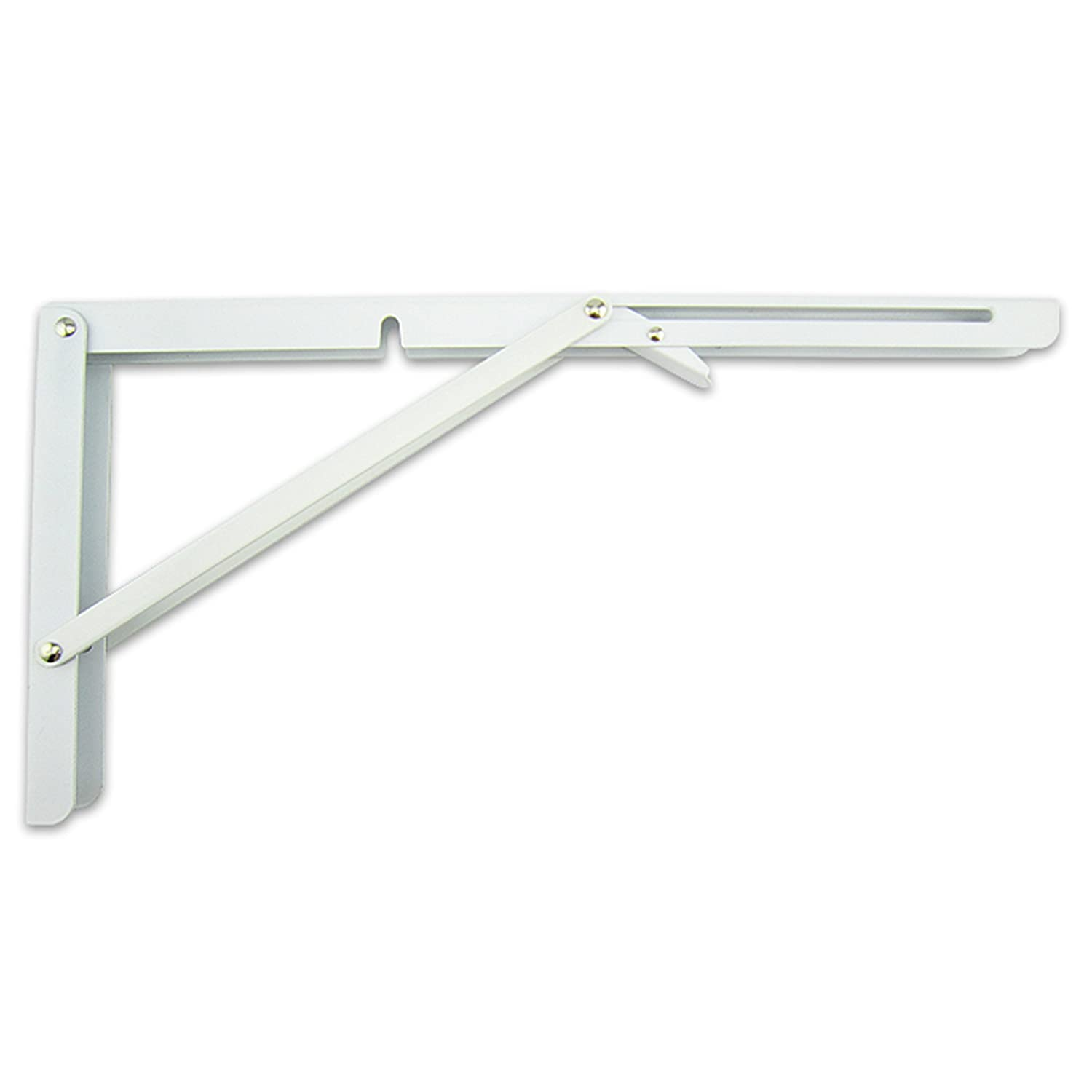 MechWares Folding Bracket For Shelves Tables Long Release Space Saving For Standing Desk Wall-Mounted Drop-Leaf In Kitchen | Laundry Room | Garage | Boat | RV -1 Pcs (16 inch, White)
