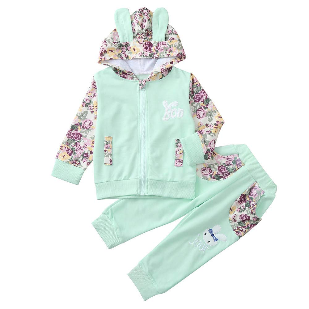 Zerototens Kids Outfit Set, 0-3 Years Old Toddler Baby Clothes Girls Tracksuit Long Sleeve Cartoon Rabbit Hooded Coat Tops and Pants 2Pcs Children Clothing Set