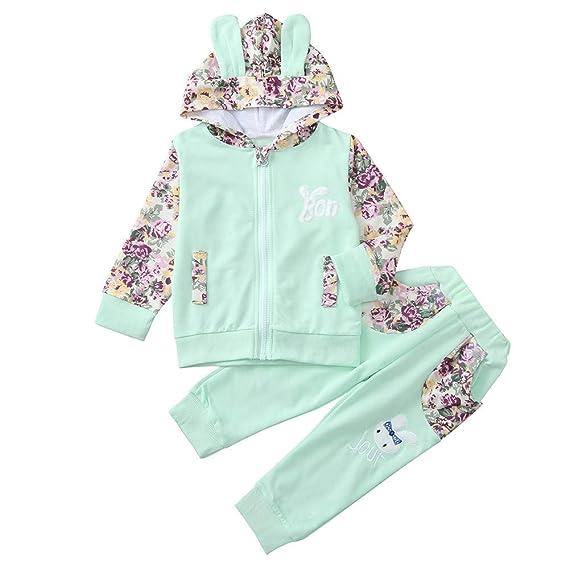 Ropa Bebe Niña, ❤ Amlaiworld Sudaderas con Capucha Mangas largas con Estampado Floral Bebés recién Nacidos Niñas Tops Ropa + Pantalones Conjunto: ...