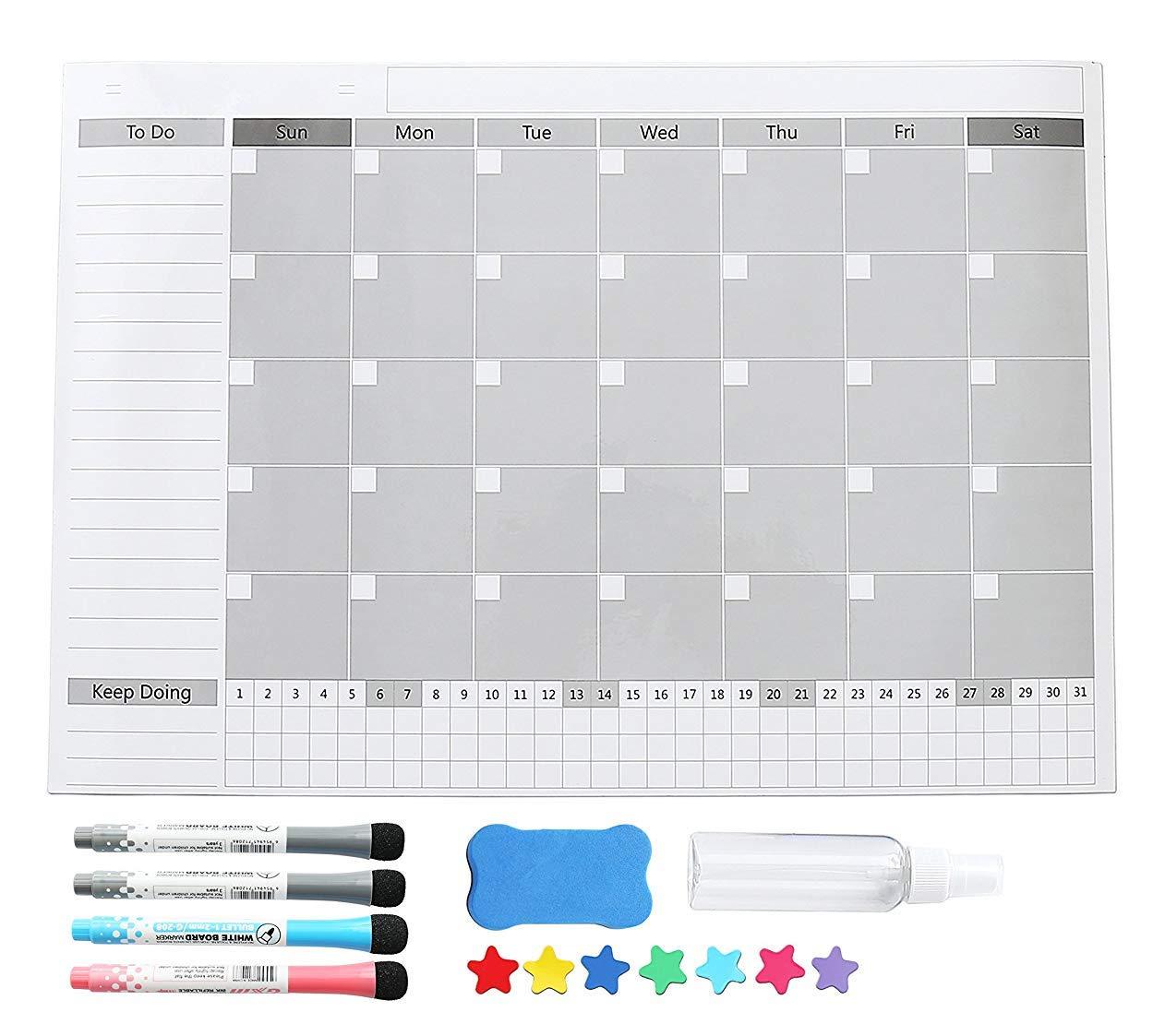 Magnetic Whiteboard Fridge Calendar, Magnetic Dry Erase Refrigerator Memo White board 17