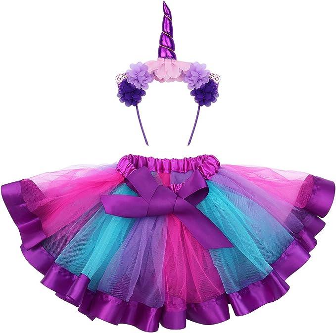 Fenical Disfraz De Unicornio Para Niñas Diadema Unicornio Floral Con Oreja Y Falda Tutú De Arco Iris Disfraz Para Fiesta Púrpura Amazon Es Ropa Y Accesorios