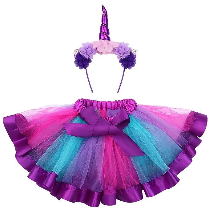 FENICAL Disfraz de Unicornio para Niñas Diadema Unicornio Floral con Oreja y Falda Tutú de Arco Iris Disfraz para Fiesta Púrpura