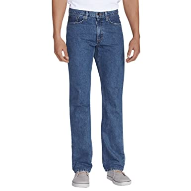 69cae373bd3024 Eddie Bauer Mens Straight Fit Essential Jeans, Med Stonewash Regular 30/32
