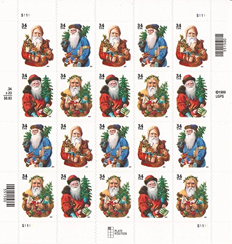 (2001 OLD WORLD SANTAS #3540b Pane of 20 x 34 cents US Postage Stamps)