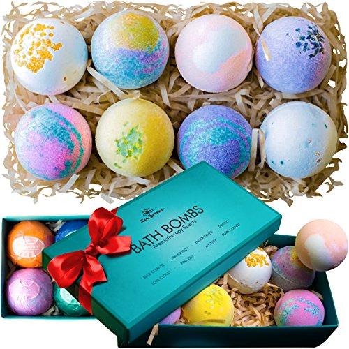 Bath Bombs Gift Set - 8 Luxury All Vegan Bubble Fizzies For Women, Relaxation Bath Bomb Kit - Relaxing Spa Gifts For Her - Unique Birthday & Beauty Products Unique Gifts For Girlfriend Birthday