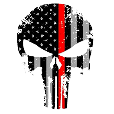 """IT'S A SKIN Punisher Skull Marines Firefighter Thin Red Line US Sticker Decal America Flag Distressed Fire Service Large 8"""" (Made in The U.S.A.): Automotive"""