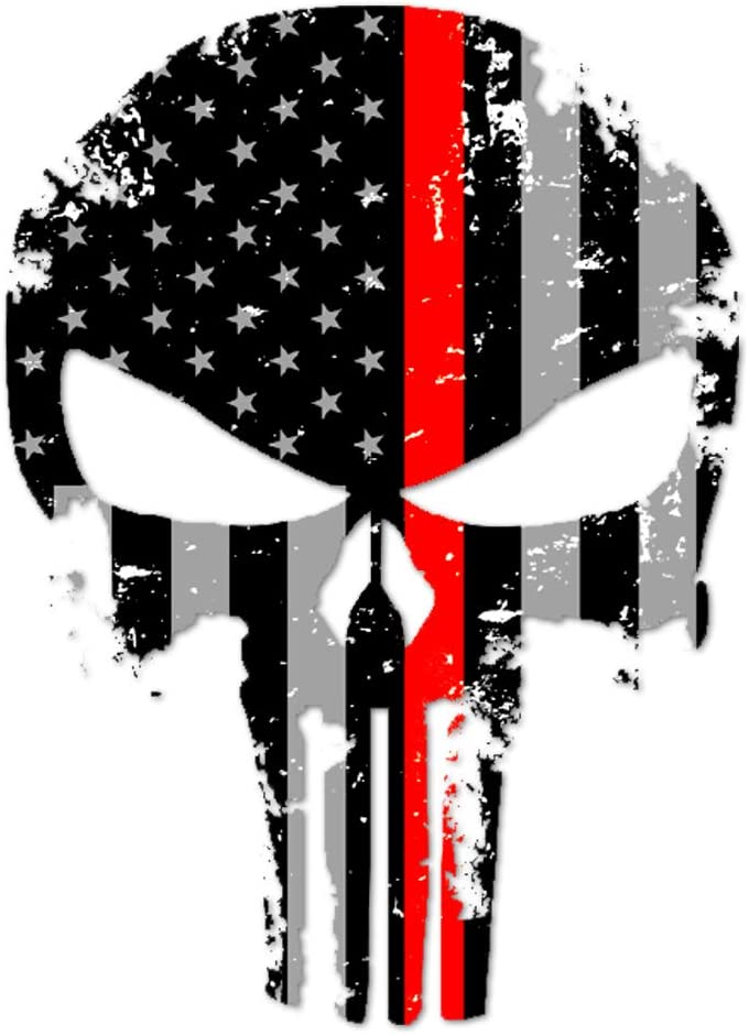 ITS A SKIN Punisher Skull Marines Firefighter Thin Red Line US Sticker Decal America Flag Distressed Fire Service Large 8 Made in The U.S.A.