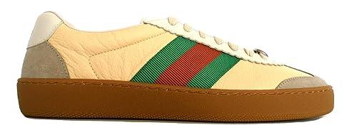Gucci Scarpe Sneaker G74 in Pelle con Web Uomo 521681 0PV20 9560 2361 Burro  Bianco  a61b6b7077d3
