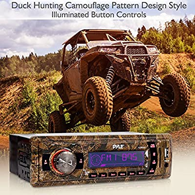 Camo Stereo Marine Headunit Receiver - 12v Camo Style Single DIN Digital Boat in Dash Radio System with Aux Input, MP3, USB Flash, SD Card Readers - Includes Power & Wiring Harness - Pyle PLMRDK17