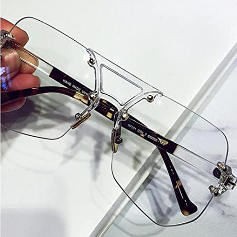 Z&YQ Occhiali da sole chiari Lenti trasparenti Poligoni Occhiali da vista senza cornice di occhiali da sole zxUbE4