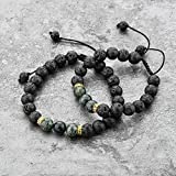 Mystiqs Kids & Adult Adjustable Lava Rock Beaded Camouflage Natural Stone Bracelet Essential Oil Diffuser for Aromatherapy Ideal for Anti-Stress or Anti-Anxiety