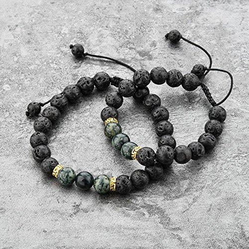 Mystiqs Kids & Adult Adjustable Lava Rock Beaded Camouflage Natural Stone Bracelet Essential Oil Diffuser for Aromatherapy Ideal for Anti-Stress or (Camouflage Stone)