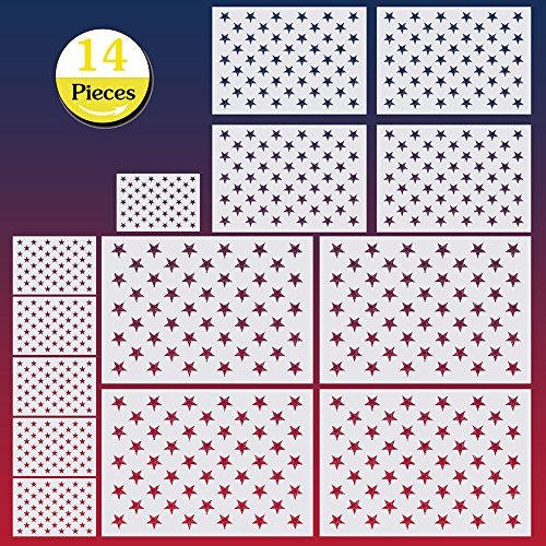 14 Pieces American Flag 50 Stars Stencil Template for Painting on Wood, Fabric, Paper, Airbrush, Walls Art,4 Large,4 Medium,6 Small
