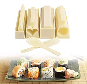 Sushi Making Kit, 10 Pieces Food-Grade Plastic Sushi Maker, DIY Home Sushi Roller with 8 Mold Shapes -Easy for Beginners