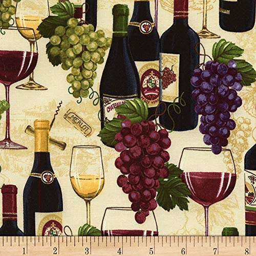 Timeless Treasures Wine Not Wine Bottles & Grapes Sand Fabric by The Yard (Grape Fabric By The Yard)