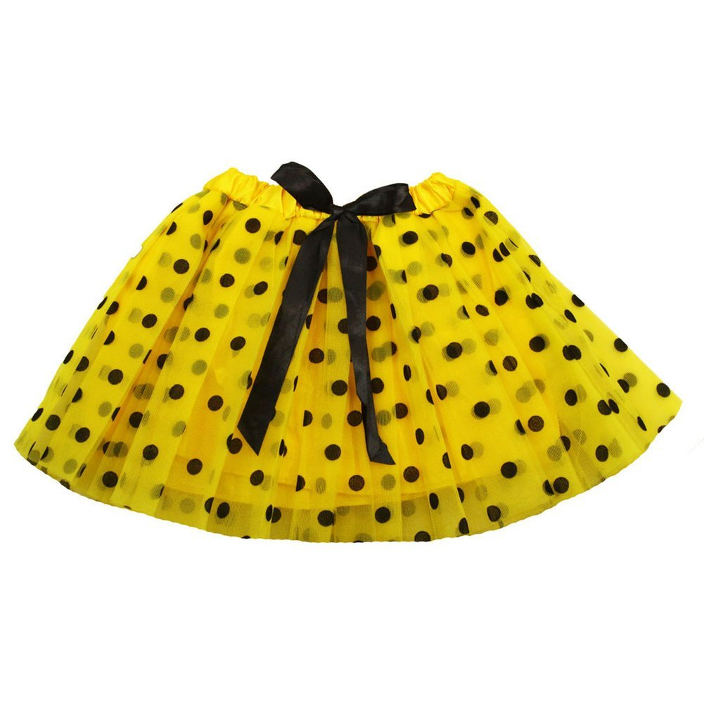 Little Girls Yellow Black Polka Dots Satin Elastic Waist Ballet Tutu Skirt 2-8Y Dress Up Dreams Boutique