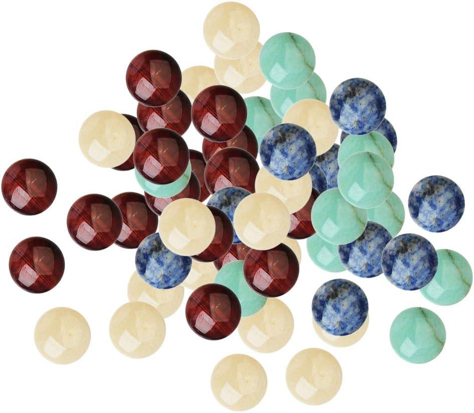 P Prettyia 200 Unids Perlas de Piedras Preciosas Naturales Cuentas de Cabujón Pulido Espalda Plana Accesorios para Hacer Collar, Aretes, Anillos