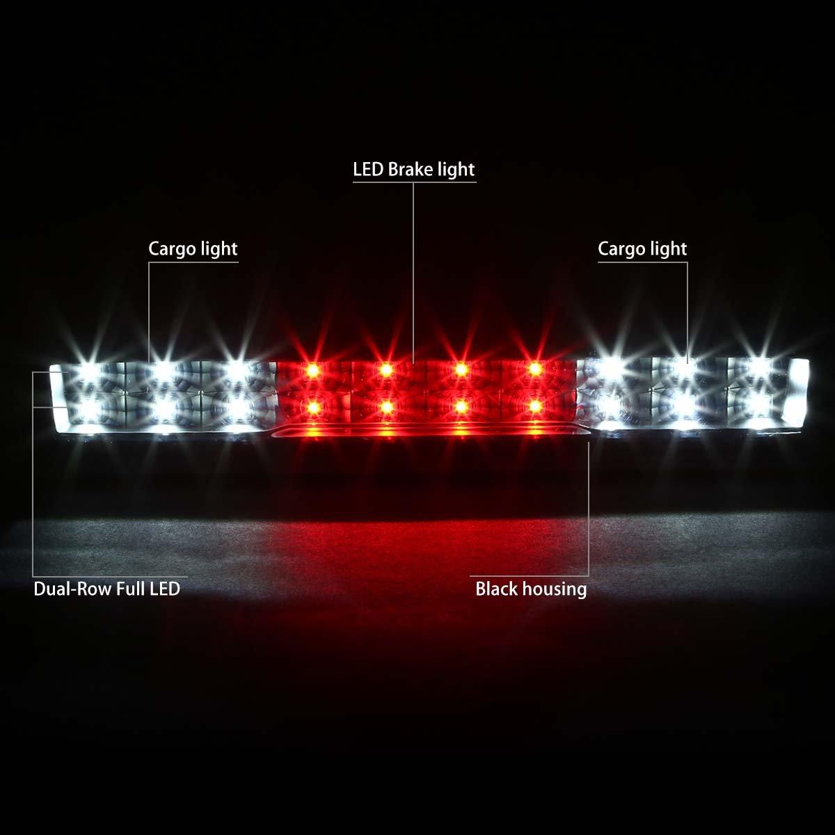 Black Housing Clear Lens For Chevy Silverado//GMC Sierra GMT900 High Mount Dual Row LED 3rd Brake//Cargo Light
