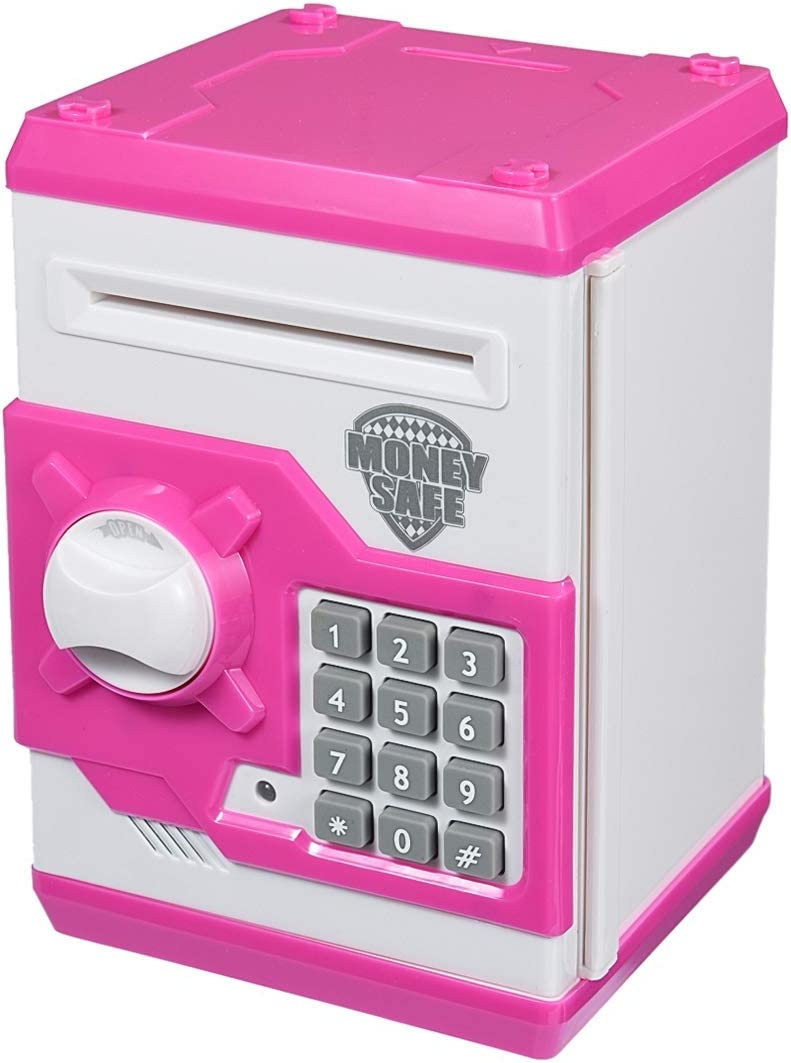 Qwifyu Kids Piggy Bank, Money Bank with Electronic Lock Auto Scroll Paper Money & Coin, Best Toy Gifts for Children Boys Girls (Pink)