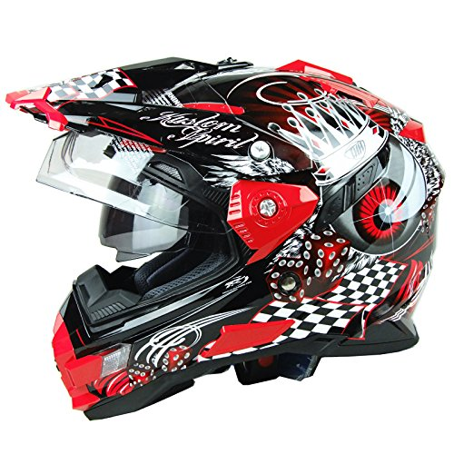 Thh Full Face - THH TX-27 Dual Sports Motorcycle Full Face Helmet (Large, Black Red Eyes)