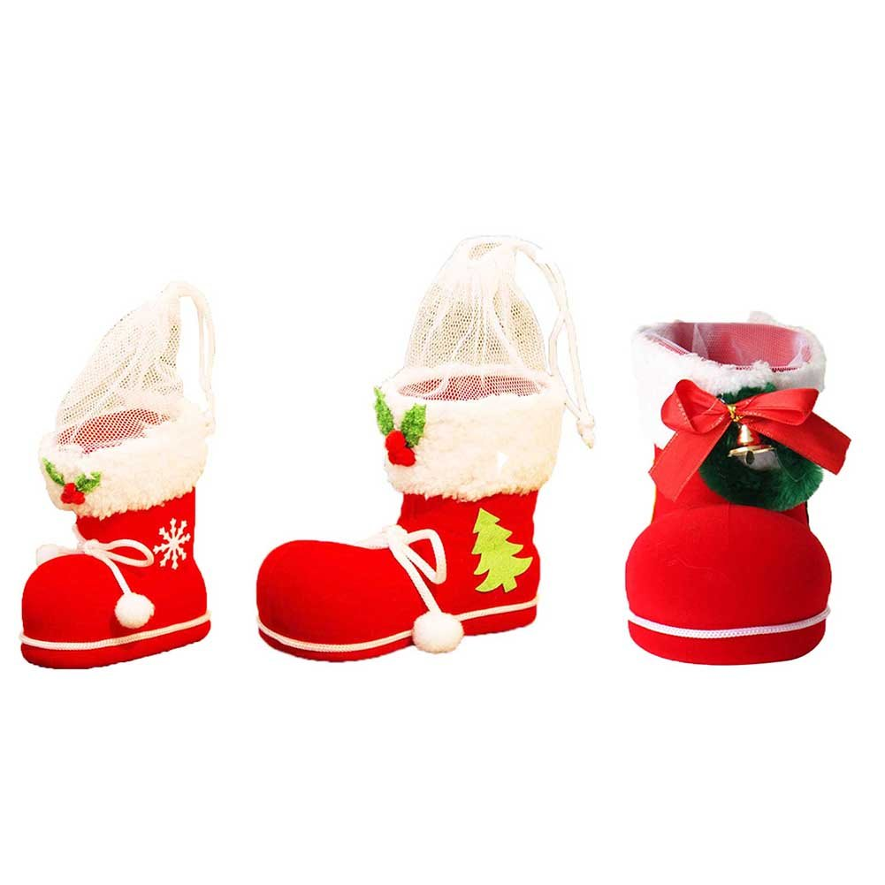 3pcs Xmas Candy Boots Gifts Stockings Snacks Bags for Christmas Tree or Kids Room, Large Medium and Small Size