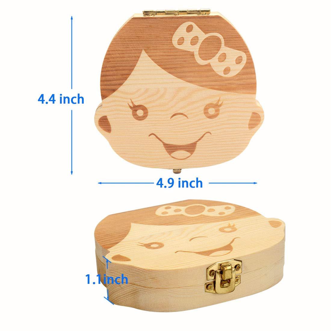 Cymax Bo/îte /à dents de lait en bois pour enfants Cadeau danniversaire pour nouveau-n/é