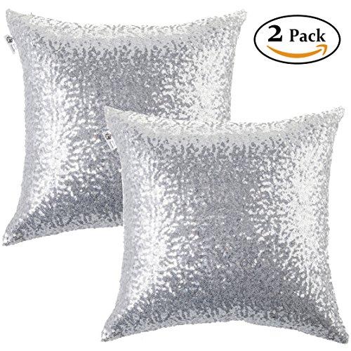 Kevin Textile Decorative Glitzy Sequin & Comfy Satin Solid Halloween Throw Pillow Cover Sham 18 Inch Square Pillow Case, Hidden Zipper Design, (2 (100 Floors Level 100 Halloween)