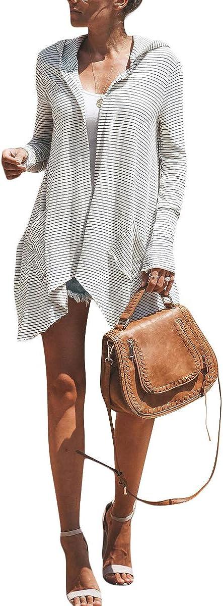 Striped Hooded Cardigan Coat Women Irregular Open Front Long Sleeve Outwear
