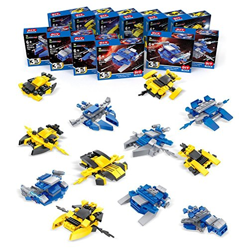 Fun Little Toys Nanoblock Spaceship Mini Building Blocks for Kids Boys Girls, Gift, Prizes, Goodie Bags Fillers, Party Favors, 12 Boxes 36 Modes with 480 pcs by Fun Little Toys