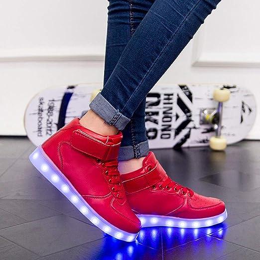 ... Nuevo LED zapatos ligeros USB que carga las luces de colores zapatos altos para ayudar de zapatos casuales: Amazon.es: Ropa y accesorios