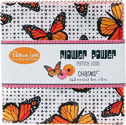 Flower Power Orange Charms 42 5-inch Squares Charm Pack Patrick Lose Fabrics Flower Power Charm