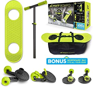 MORFBOARD Skate & Scoot Combo with Bonus Bag to Fit 2-in-1 Scooter & Skateboard Gear, 3-Position Adjustable Height and Extra Wide Skateboard Deck, for Boys or Girls 8 Years and Up, Supports 150 lbs