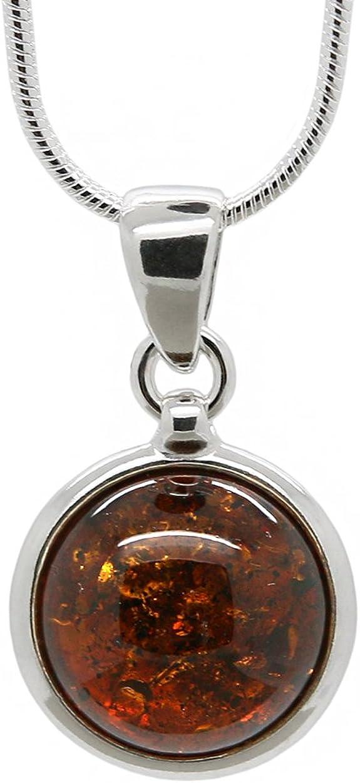AmberDeals Pendentif Rond en Argent Sterling 925 avec véritable Ambre de Cognac de la Baltique Naturelle Chaîne Incluse.: AmberDeals