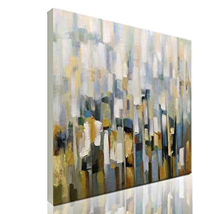 Amazon.com: Asdam Art-Modern Abstract Wall Art White Hand Painted ...