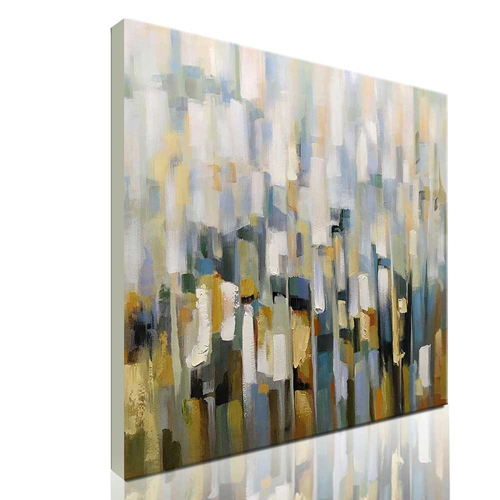 Asdam Art-Modern Abstract Wall Art White Hand Painted Oil Painting on Canvas Framed Colorful Artwork for Living Room Dining Room Bedroom Office Hotel(32x32 inch)
