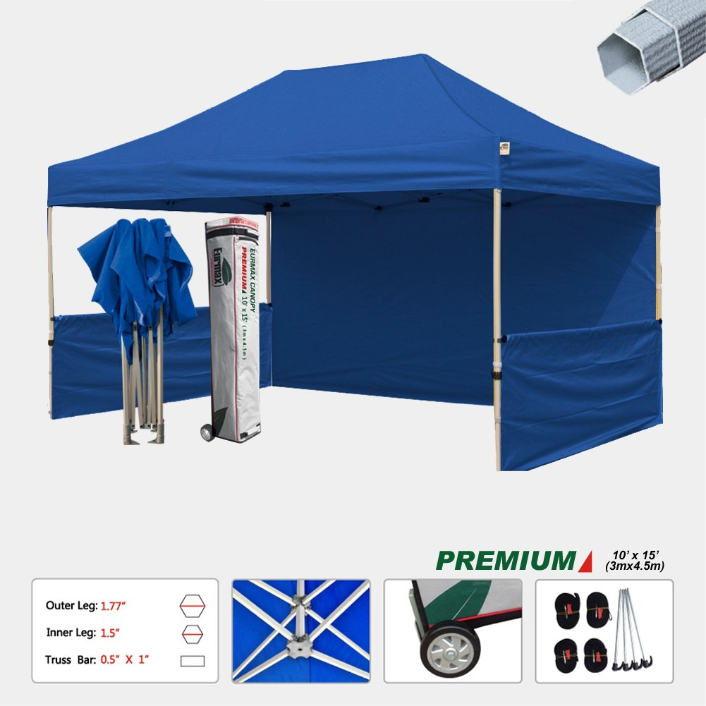 Eurmax Pop Up Canopy Event canopy Canopy Booth Market stall Portable Exhibition booth Trade show Display Bonus 4pcs weight bags (10x15, Blue)