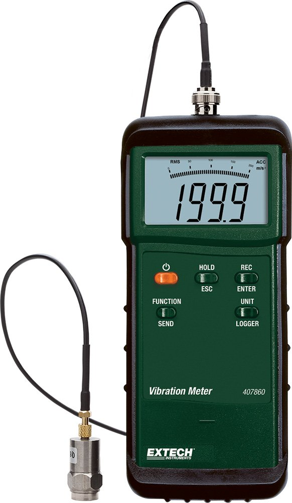 Extech 407860 Heavy Duty Vibration Meter measures Velocity, Acceleration and Displacement FLIR Commercial Systems Inc.
