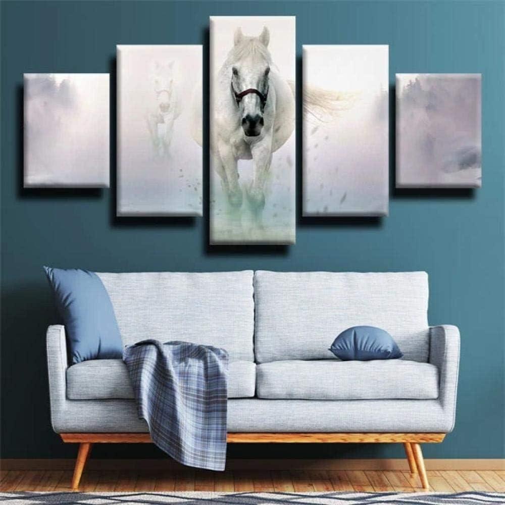 IIIUHU 5 Piezas Cuadro sobre Lienzo De Fotos Caballo Blanco Gris Lienzo Impresión Cuadros Decoracion Salon Grandes Cuadros para Dormitorios Modernos Mural Pared Listo para Colgar