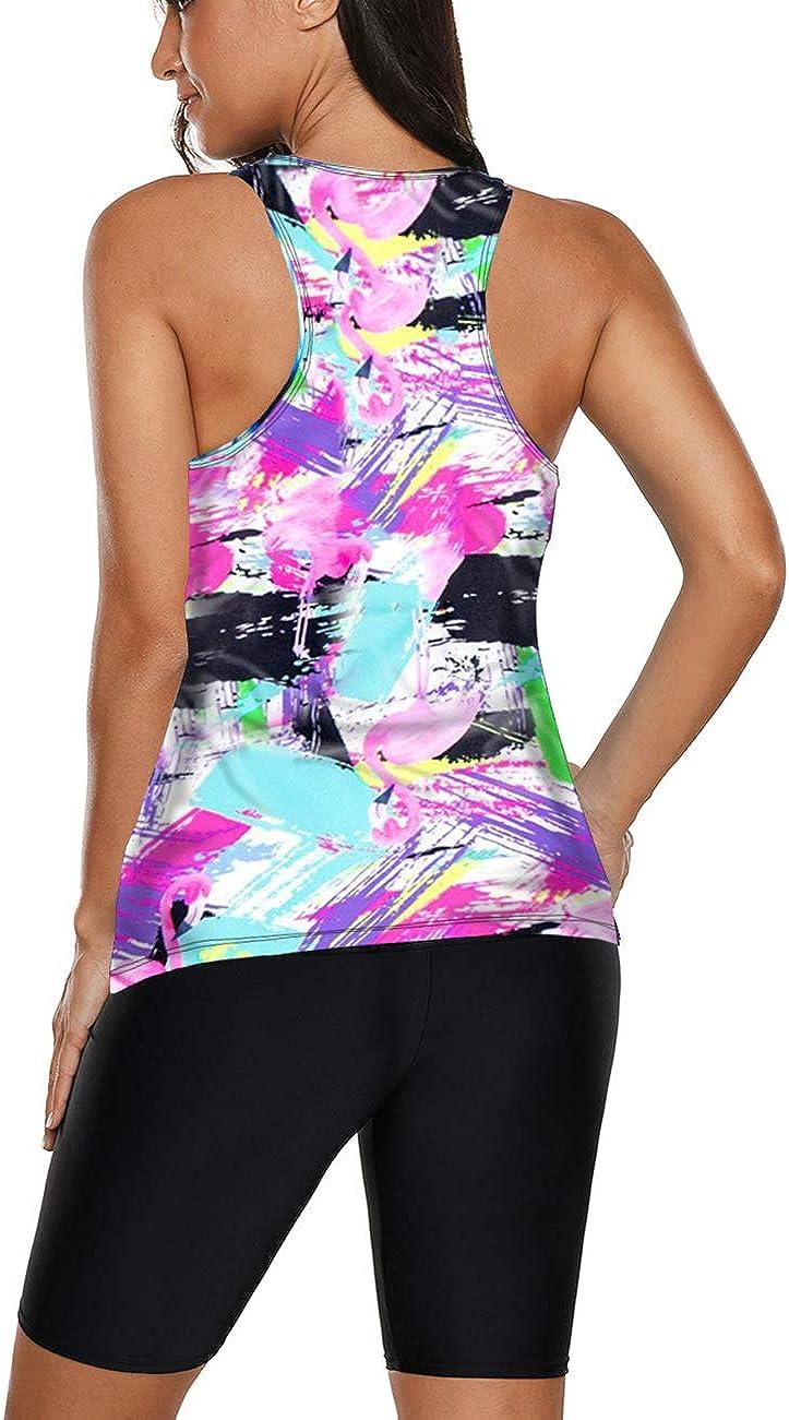Bsubseach Womens Racerback Color Block Tankini Swimsuit with Swim Boy Shorts S-XXXL