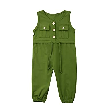 6b8594814da Toddler Little Girl Summer Plain Pocket One Piece Romper Jumpsuit Clothes  Set (Green
