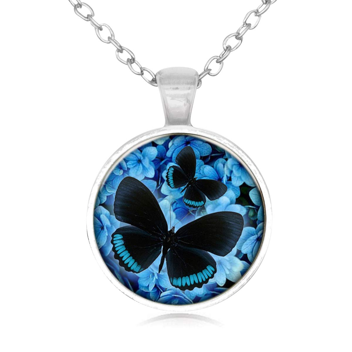 Family Decor Blue Dream Butterfly Pendant Necklace Cabochon Glass Vintage Bronze Chain Necklace Jewelry Handmade