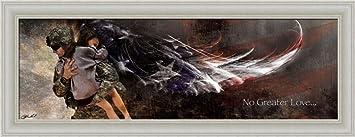No Greater Love American Soldier Angel Wings 20x8 Framed Art Print Picture  By Jason Bullard