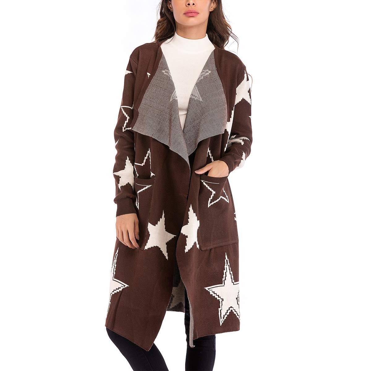 Coffee Star Print Knit Coat Long Sleeve Pocket Soft Overcoat For Women
